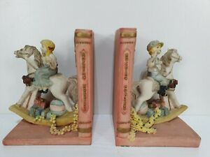 Vintage Academy Girl Boy Rocking Horse Nursery Resin Bookends