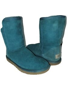 UGG Classic Short Sheepskin Leather Upper Boots Size 6 Teal Aqua Turqouise