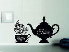 Coffee Time Decorative Vinyl Wall Sticker Decal Kitchen Tiles Fridges Windows