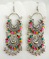 Indian Traditional Bollywood Silver Oxidized Mugal Jhumka Jhumki Earrings M-535