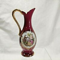 Limoges France La Reine Romantic Pitcher Vase Porcelaine