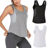 Women Sports Yoga Fitness Workout Tank Tops Solid Sleeveless Mesh T-shirt Vest