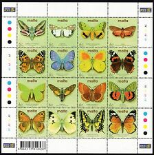 Malte 2002 Papillons & Papillons Mini Feuille SG 1253 - 1268 non montés Comme neuf