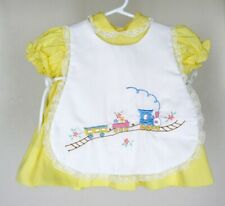 Vtg Baby Togs Yellow Pinafore Dress Sz 12 mos Girls Lace Train Embroidered