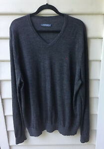 Ralph Lauren Grey Jumper 100% Merino Wool Est. Size 2XL V-Neck Pullover Men's