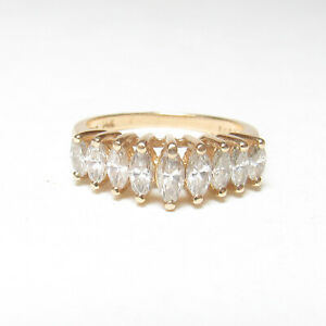 WEIGHED Estate 14K Yellow Gold Nine Marquise Cut Diamond Cluster Ring 1.01 Cts