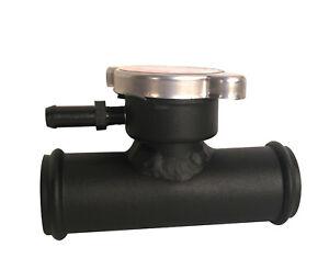 32mm 1-1/4'' Universal Aluminum InLine Radiator Hose Filler Neck & Cap Black