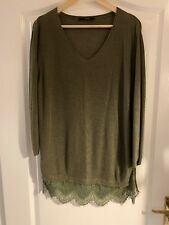 George Green Khaki Long Sleeved V Neck Ladies Top 16 Lace Detail At Bottom