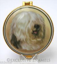 More details for alastor enamels old english sheepdog round hinged china trinket box