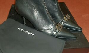 Dolce Gabbana Leather Boots with D & G Metal Logo Brand New in Box