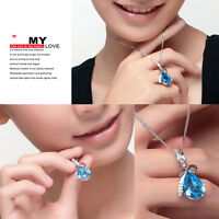 1X Women Girls Water Drop Pendant Necklace Crystal Silver Alloy Necklace Jewelry