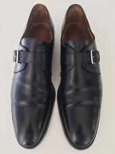 Hermes Shoes, Black Calfskin, Single Monk Strap, Palladium Buckle, Fully Lined