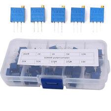 50pc 10 value Assortment 3296W Trimmer Trim Pot Potentiometer Resistor +Case Set