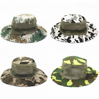 Mens Army Camo Mesh Boonie Hat Wide Brim Sun Hat Bucket Hat Caps Hunting Fishing