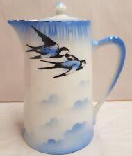 Vintage Schmidt & Co Czech Victoria China Blue Bird Lidded Hot Water Pot 1927-45