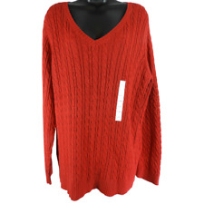 NWT Croft & Barrow Red V Neck Long Sleeve Sweater Women's Size XL