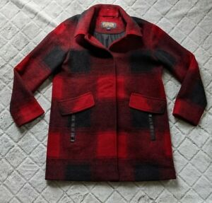 Pendleton Red Black Buffalo Plaid Wool Blend Boucle Snap Coat Jacket SMALL