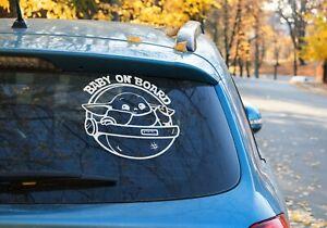 Baby on board sign customise Vinyl Decal Sticker Car Window Laptop Yoda