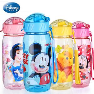 Disney Plastic water bottle Cartoon Minnie Mickey Eco friendly Straw functional