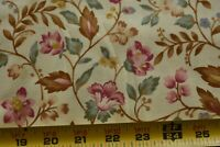 By 1/2 Yd, Pink Green Brown Floral on Lt-Yellow Quilt Fabric, RJR/Pandolph N5470