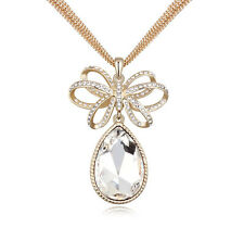 18K Gold GP Made With Swarovski Element Crystal Water Drop Necklace White
