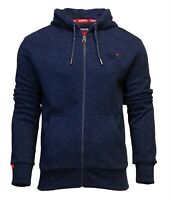 Superdry Mens New Orange Label Classic Long Sleeve Full Zip Hoody Navy Blue