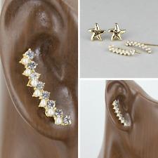 Gold starfish crystal ear climber earrings crawlers 2 pair post stud earrings