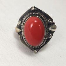 SORTIJA Piedra Roja de PLATA DE 1ª LEY 925 - Nº 15  / 7,2 gr