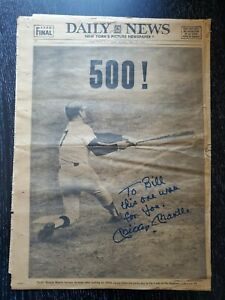 Mickey Mantle Autographed 500th Home Run May 15, 1967 Daily News Newspaper Cover
