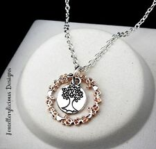 Silver & Rose Gold Circle Of Love Word Tree Of Life  Pendant Necklace 56cm