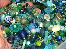 NEW 8/oz GLASS 6-15mm MIXED Blue / Green LOOSE BEADS LOT Gem, Glass, Pearls