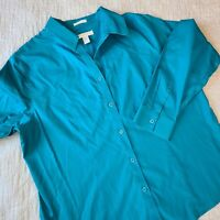 Chico's No-Iron Button Front Long Sleeve Shirt Size 2.5 Large Teal Career
