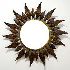 Espejo vintage sol metal hojas 60's sunburst mirror metal sunburst leaves