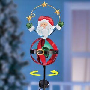 Solar Powered Green Gazing Ball Santa Claus Christmas Wind Spinner Garden Stake