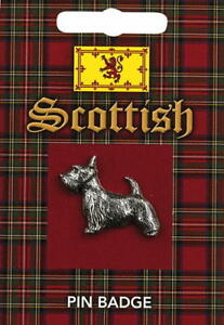 Scottish Scottie Dog Silver Pewter Lapel Pin Badge