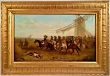 Stunning Circa Mid 1800's Signed Oil On Canvas Depicting Napoleon Battle Scene