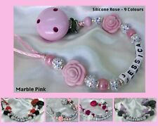 ♕Personalised DUMMY CLIP ♕ Max 7 Letters ♕ SILICONE ROSE SPARKLE ♕ 10 Colours ♕