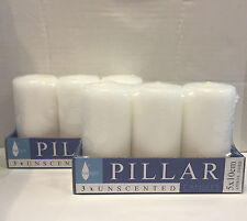 6x White Unscented Pillar Candle Candles 5x10cm Restaurant Wedding Decor Event