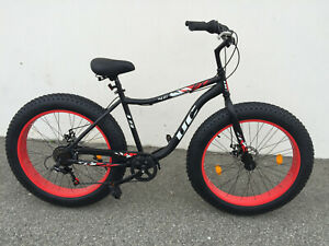 "26"" Beach Cruiser 7 Speed 4"" Fat Tire Bike Bicycle Disc Shimano matte Black/ Red"