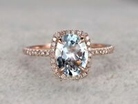 2Ct Oval Cut Aquamarine Diamond Halo Wedding Engagement Ring 14K Rose Gold Over
