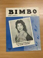 "VINTAGE 1953 ALMA COGAN ""BIMBO"" ONE-SONG MUSIC SHEET"