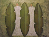abstract tribal green men large oil painting contemporary modern art original