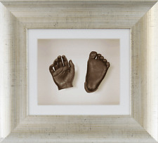 New 3D Baby Casting Kit Gift Bronze Hand & Feet Antique Silver Frame White Card