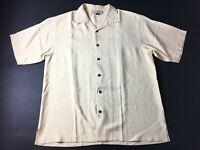 Tommy Bahama Mens Yellow Short Sleeve Button Front Silk Shirt Size Medium