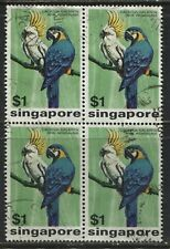 Singapore $1 Parrots used block of 4