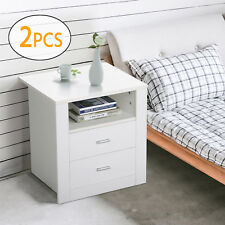 2X Bedside Table 2 Drawers Retro Cabinet Nightstand Unit Storage Shelf White