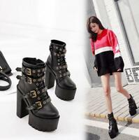 Womens Punk Lace Up Buckle Strap Gothic Chunky High Heels Platform Ankle Boots