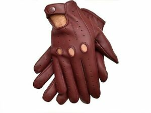Men's Real Leather Touch Screen Gloves Motorcycle Driving Texting Full Finger