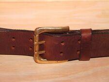 2 Pin Rodillo de latón de 1 1/2 pulgadas de tamaño de la cintura cinturón de Cuero Hombre Damas Negro Marrón