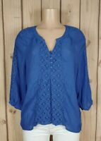 FUNDAMENTAL THINGS Womens Size Large 3/4 Sleeve Shirt Lace Detail Blue Top